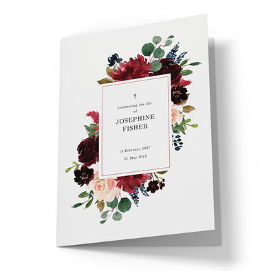 Burgundy Blush Floral Funeral Program Template