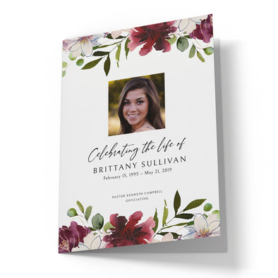 Burgundy Floral Funeral Program Template