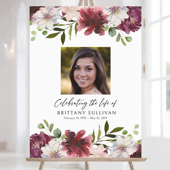 Burgundy Floral Funeral Sign Template