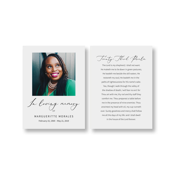 Luxury Calligraphy Funeral Prayer Card Template 2
