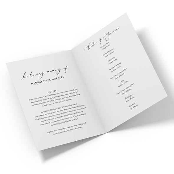Luxury Calligraphy Funeral Program Template 2