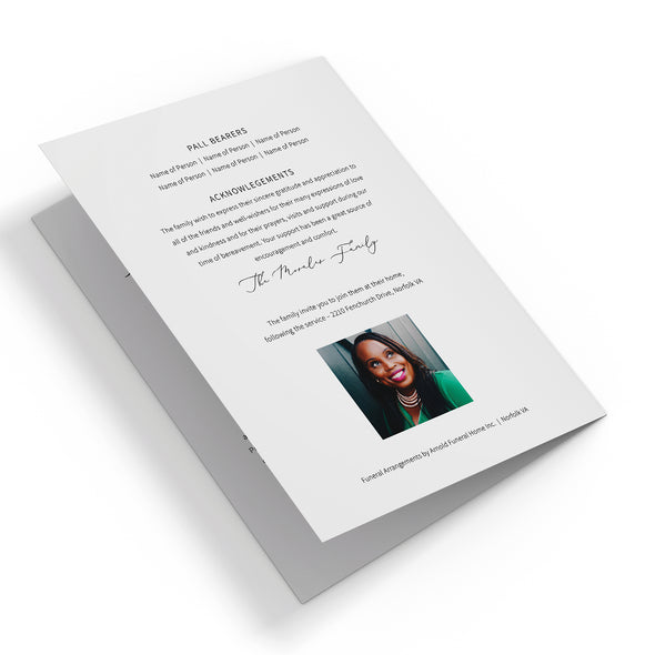 Luxury Calligraphy Funeral Program Template 3