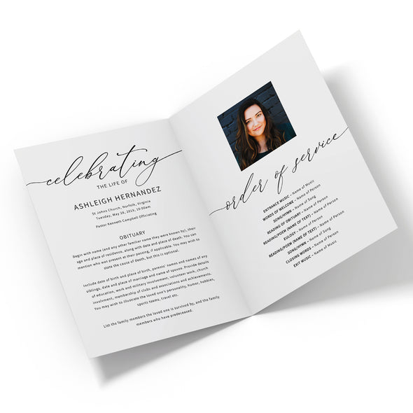 Modern Calligraphy Funeral Program Template 2