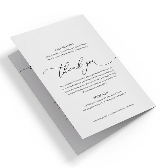 Modern Calligraphy Funeral Program Template 3