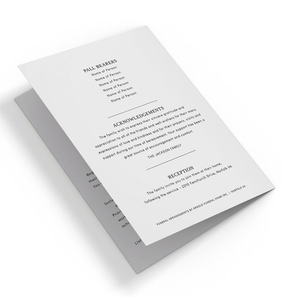 Traditional Funeral Program Template 3