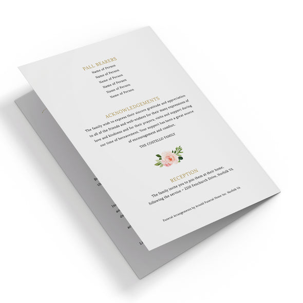 Floral Geometric Funeral Program Template 3