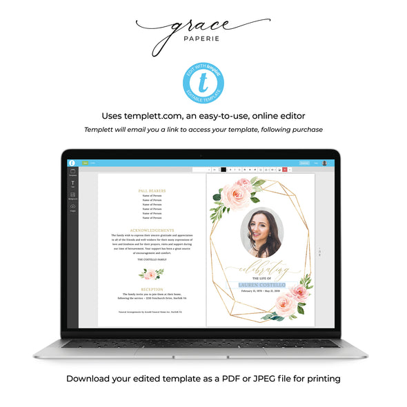 Floral Geometric Funeral Program Template 4