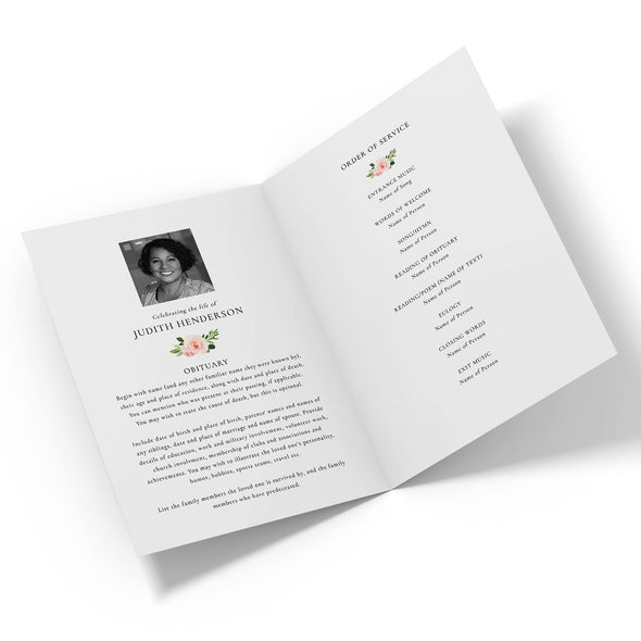 Rose Garden Funeral Program Template 2