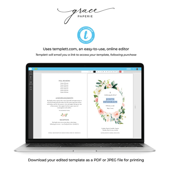 Rose Garden Funeral Program Template 4