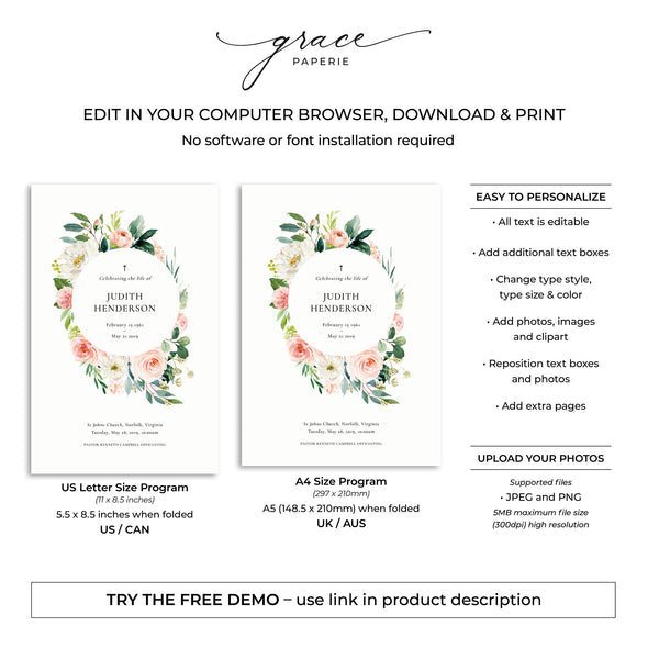 Rose Garden Funeral Program Template 5