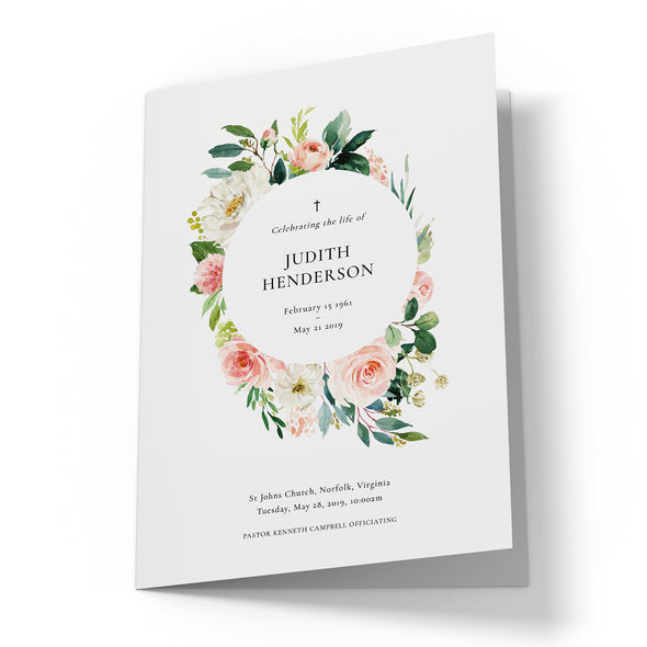 Rose Garden Funeral Program Template