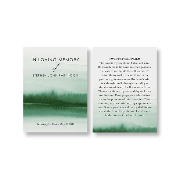 Forest Funeral Prayer Card Template 2