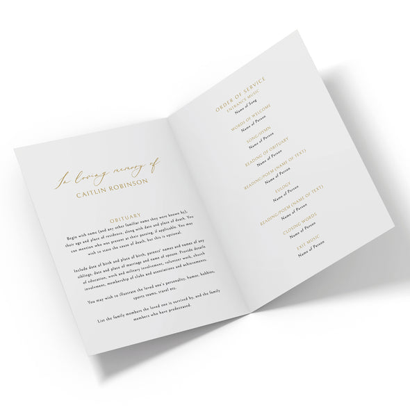 Luxury Gold Calligraphy Funeral Program Template 2
