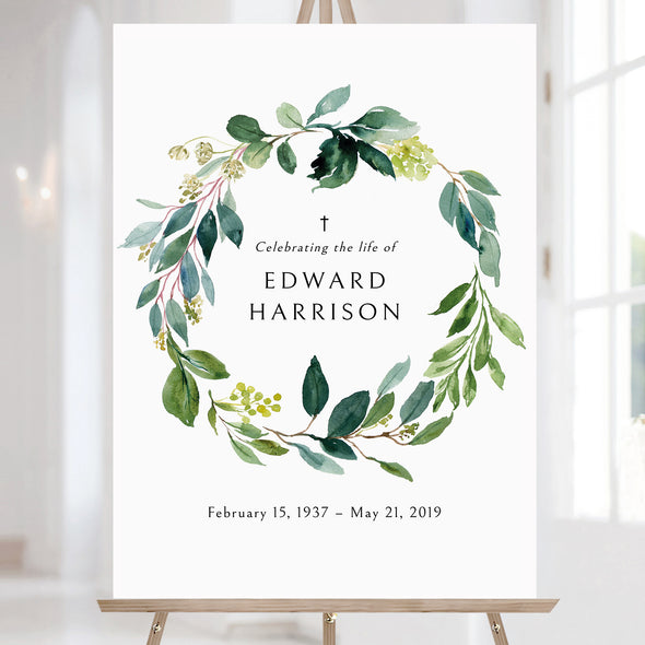 Greenery Wreath Funeral Sign Template