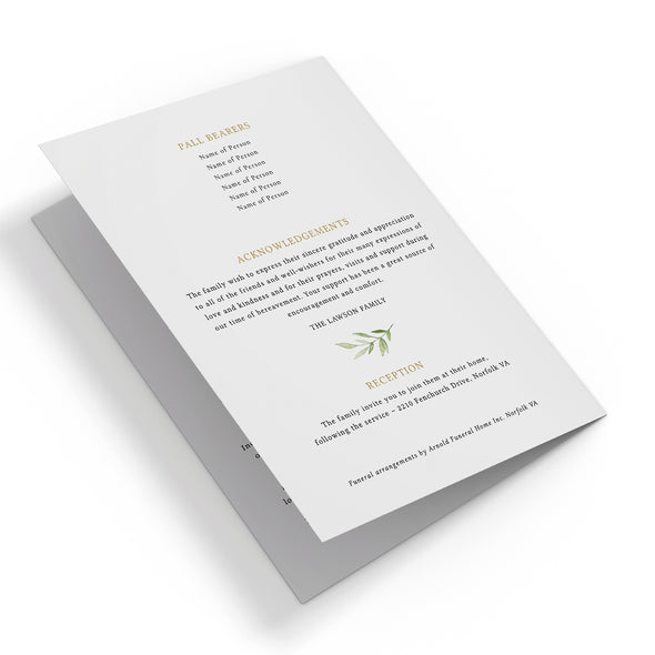 Greenery & Gold Funeral Program Template 3