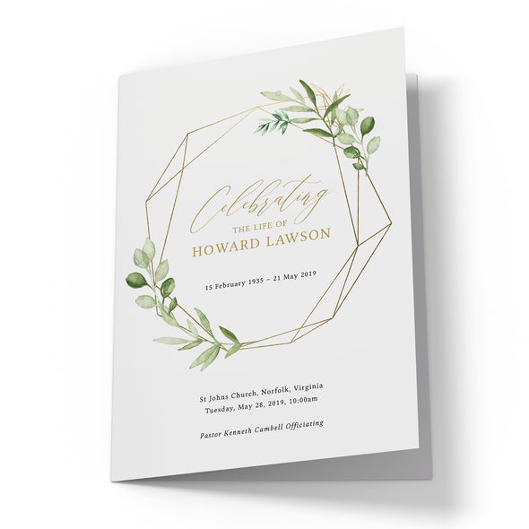 Greenery & Gold Funeral Program Template