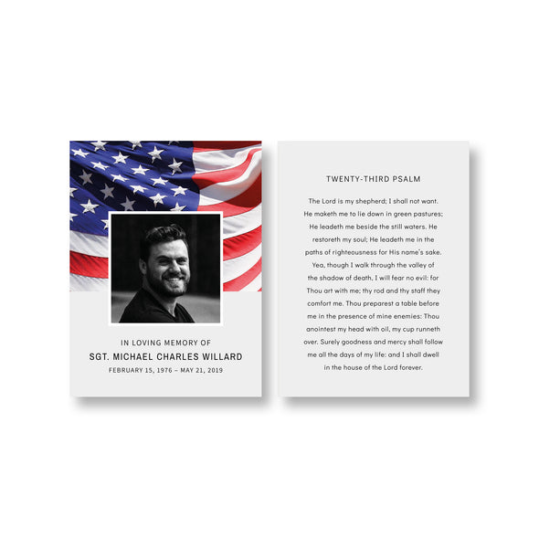 Stars & Stripes Funeral Prayer Card Template 2