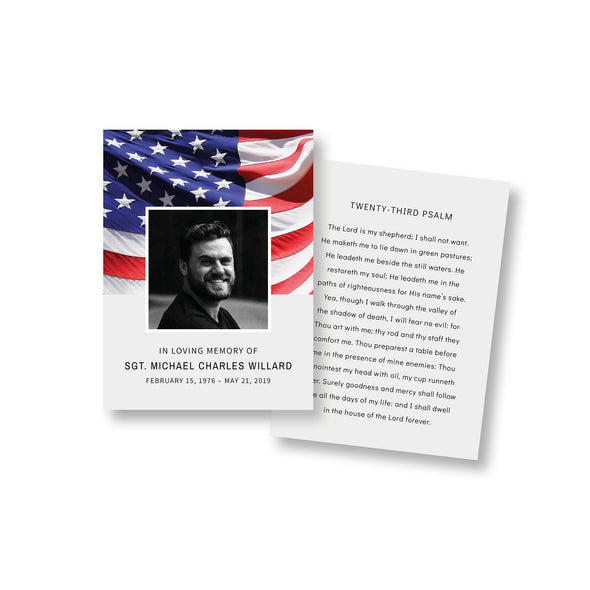 Stars & Stripes Funeral Prayer Card Template