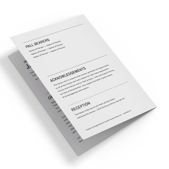 Modern Minimalist Funeral Program Template 3