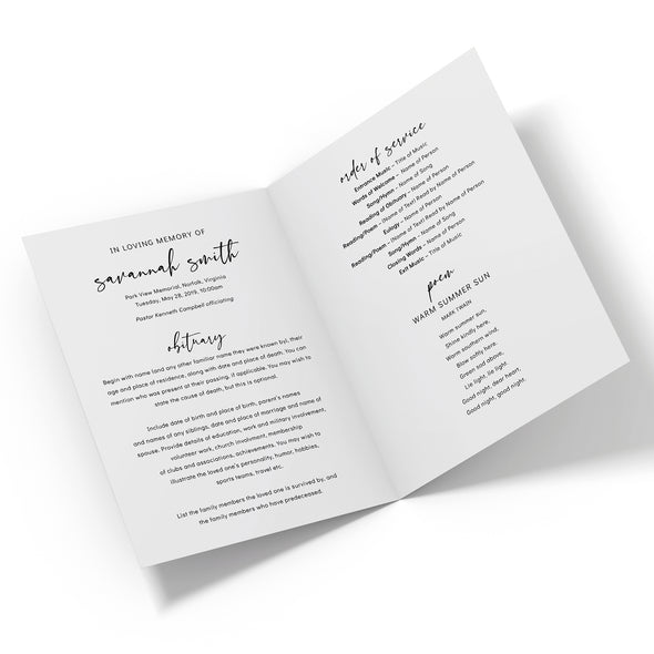 Modern Script Funeral Program Template 2