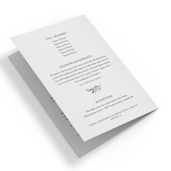 Olive Branch Funeral Program Template 3