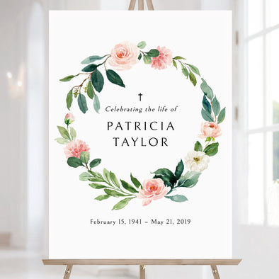 Pink Floral Wreath Funeral Sign Template