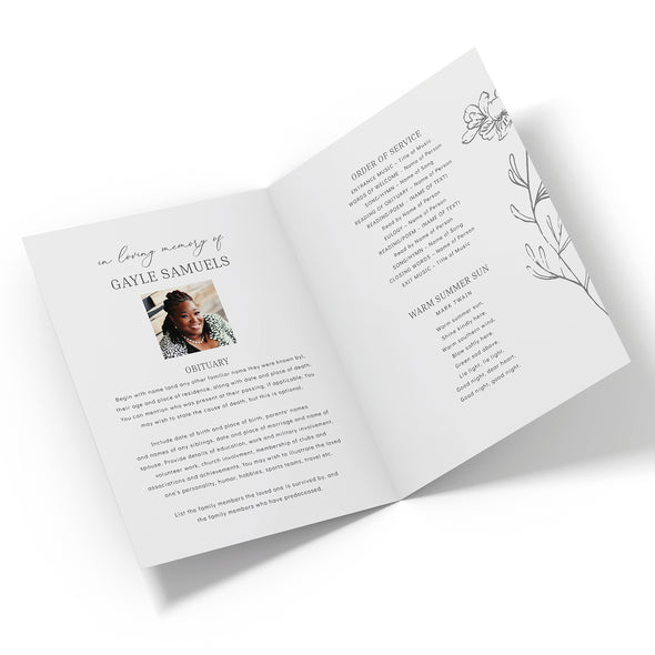 Botanical Flower Funeral Program Template 2