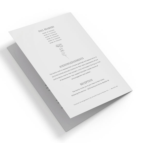 Botanical Flower Funeral Program Template 3