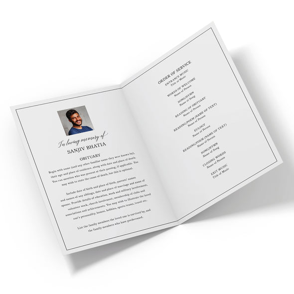 Line Border Funeral Program Template 2