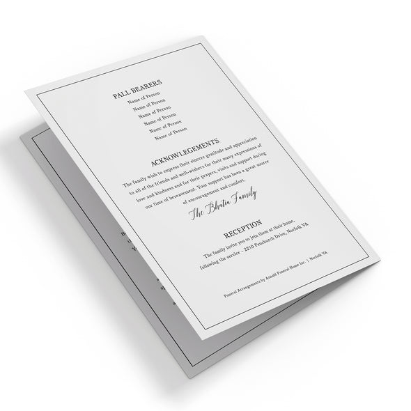 Line Border Funeral Program Template 3