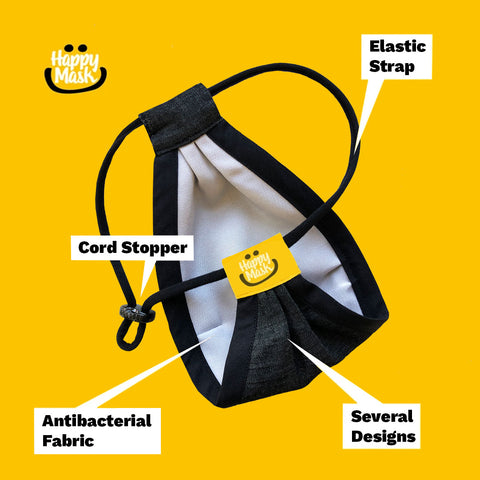 Product detail graphic explaining the components of our reusable respirators