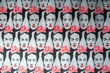 Load image into Gallery viewer, cotton fabric with frida kahlo pattern on it