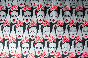 cotton fabric with frida kahlo pattern on it