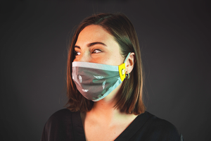 Grey reusable face mask with yellow happy mask logo