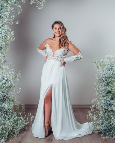 Wedding Dress; Allie with sleeves