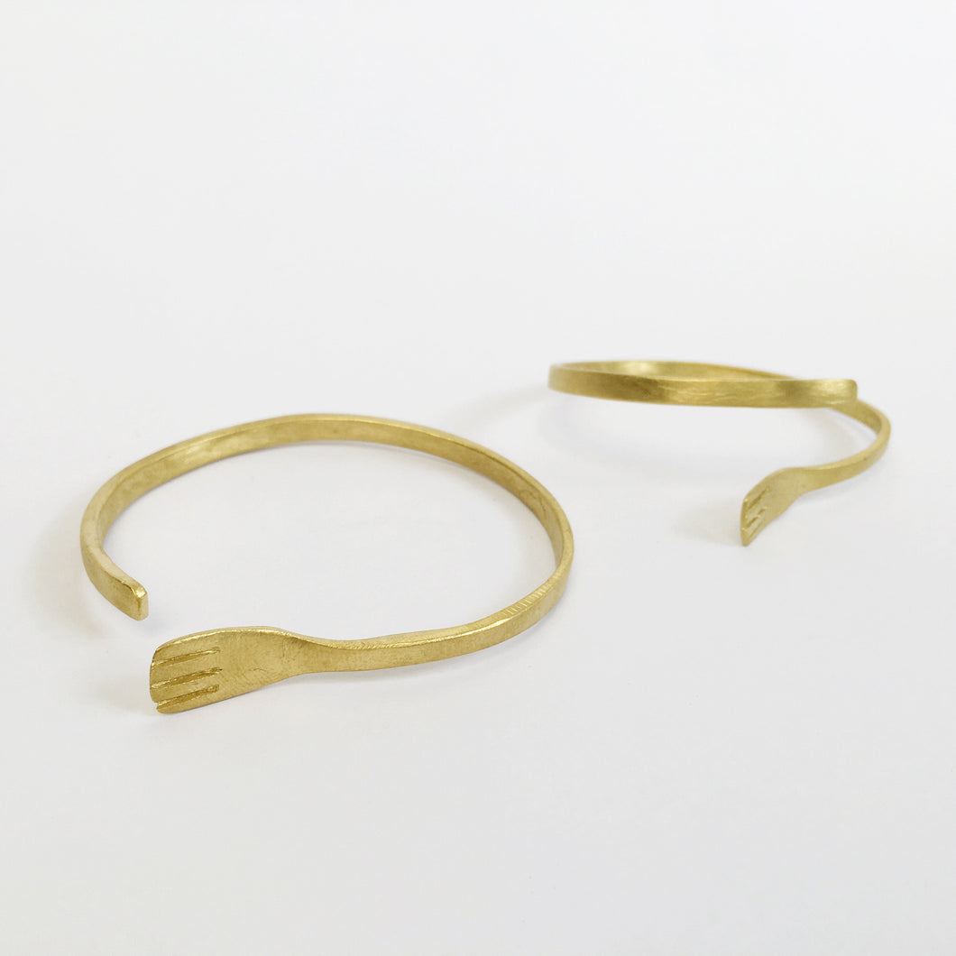 Fork Brass Bangle
