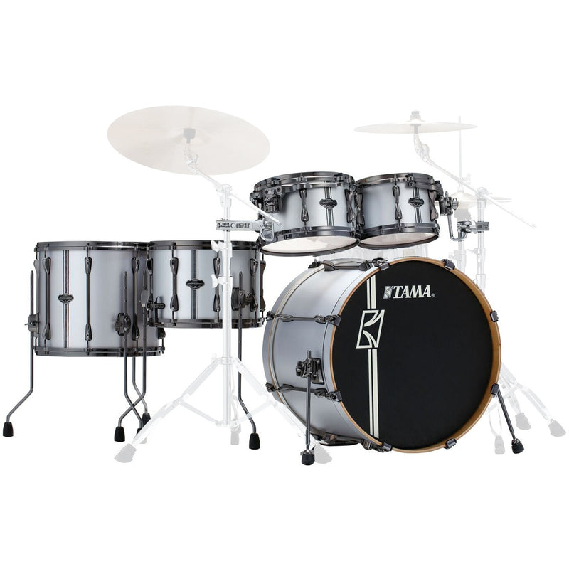 "Tama Superstar HyperDrive ""Duo Snare"" Shell Pack in Satin Silver Vertical Stripe"