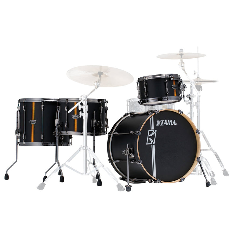 "Tama Superstar HyperDrive ""Duo Snare"" Shell Pack - Flat Black Vertical Stripe"