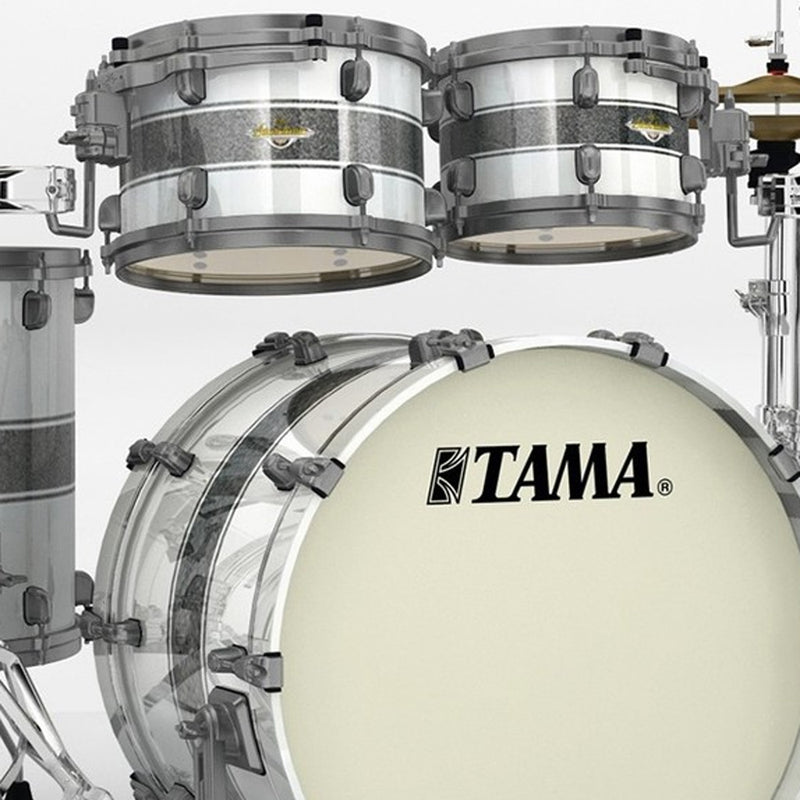 Tama Starclassic Maple 4pc Shell Pack in Silver Snow Racing Stripe (Black Nickel H/W)