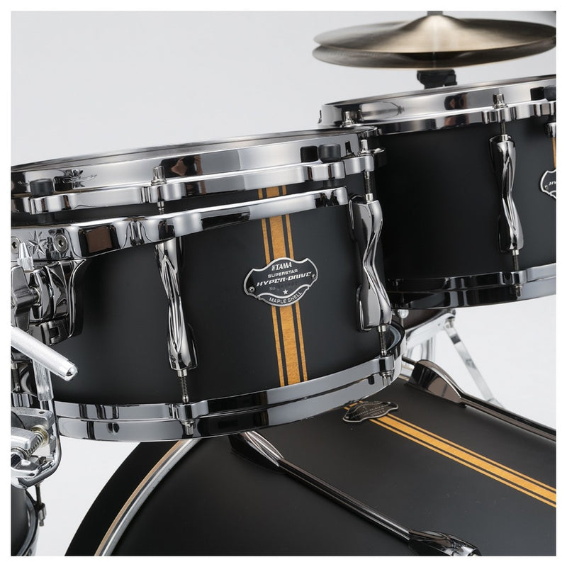 "Tama Superstar HyperDrive ""Duo Snare"" Shell Pack in Flat Black Vertical Stripe"