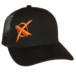 X Logo Hat, Mesh Back. Black