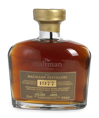 Macallan Maltman 1977, a very rare Speyside Cask Strength Single Malt 35 years old, bottled in 2012 at 44.5%, one of only 293 bottles.