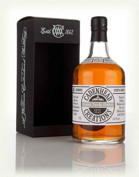 ROBUST SMOKY EMBERS, 23yo, 54.3% Blended Scotch by Cadenhead in Hong Kong, a blend of one cask of Caol Ila and one cask of Invergordon grain whisky.