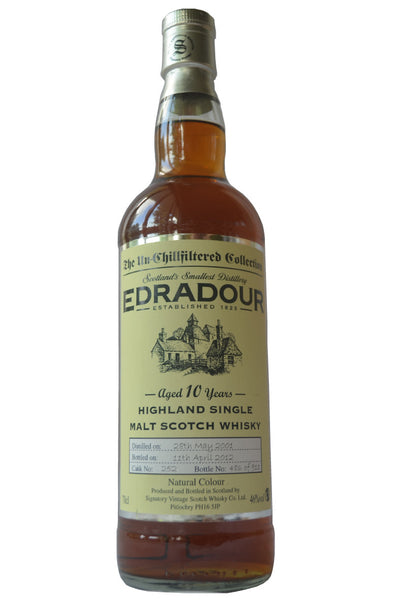 Edradour, a Highland Single Malt Scotch Whisky in Hong Kong distilled in 2001, bottled in 2012 at 46%