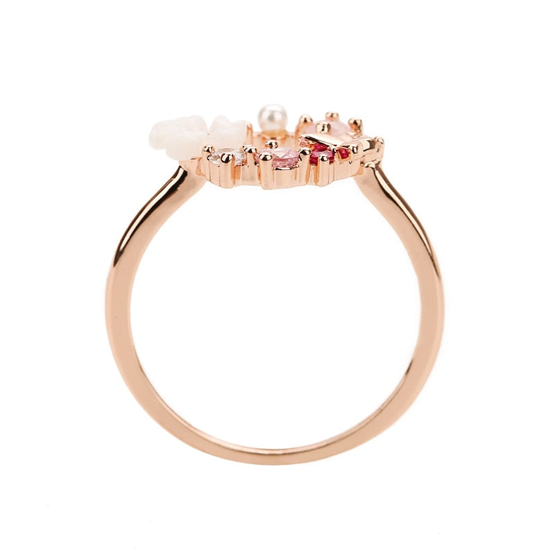 Flowers Crystal Finger Rings