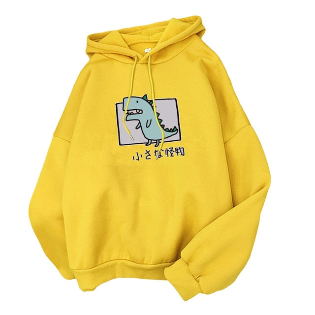 Cartoon Dinosaur Print Hoodies