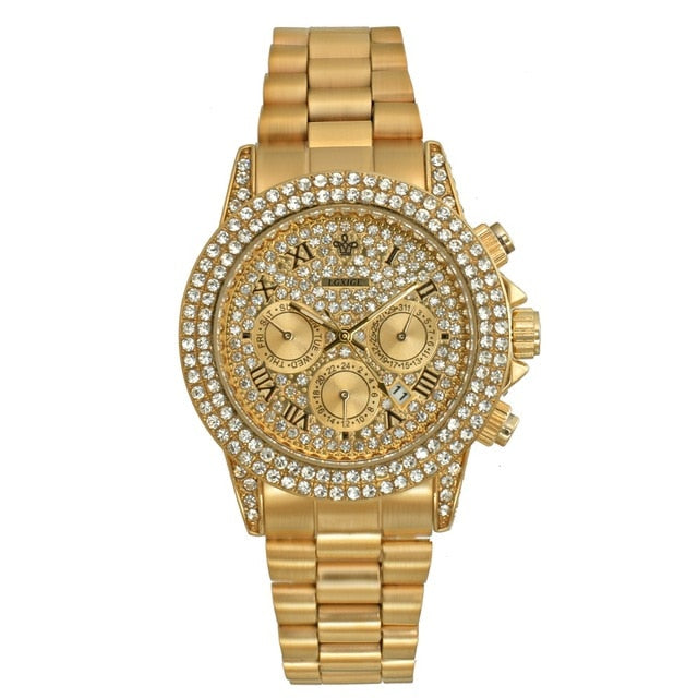 18K Gold Diamond Mens Watches Iced Out