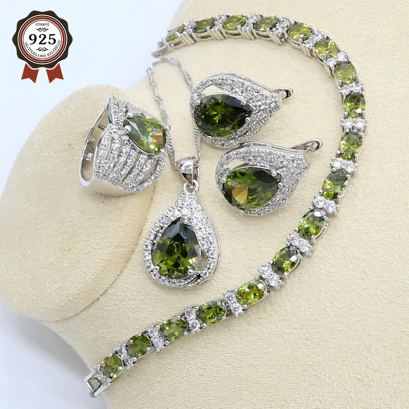 2019 New Olive Green Zircon 925 Sterling Silver Jewelry Set for Women with Bracelet Earrings Necklace Pendant Ring Birthday Gift