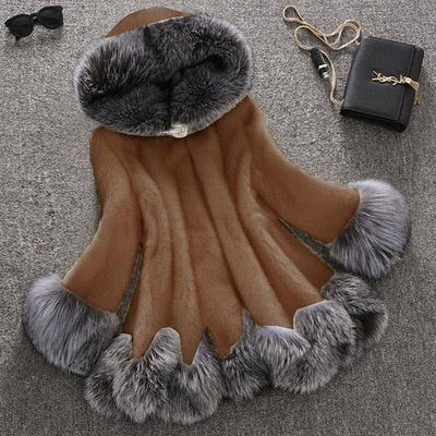 Large Size Fashion Autumn and Winter Women Faux Fur Coat