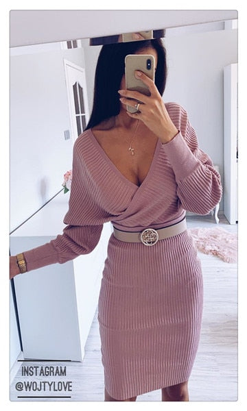 Simplee Sexy v-neck pink dress